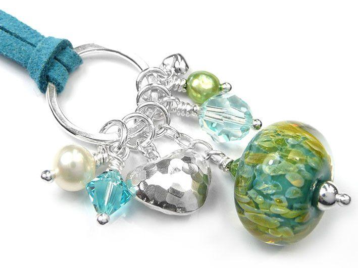 Lampwork Glass Pendant - Turquoise Opal