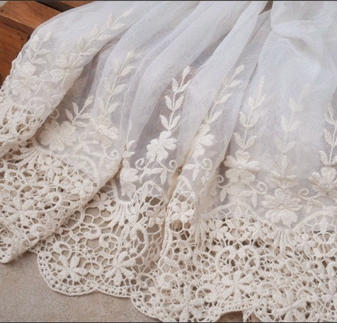 Ecru Embroidered Lace Fabric Wedding Bridal Lace Trim Dress Gown Supplies Veil Accessories. via Etsy.