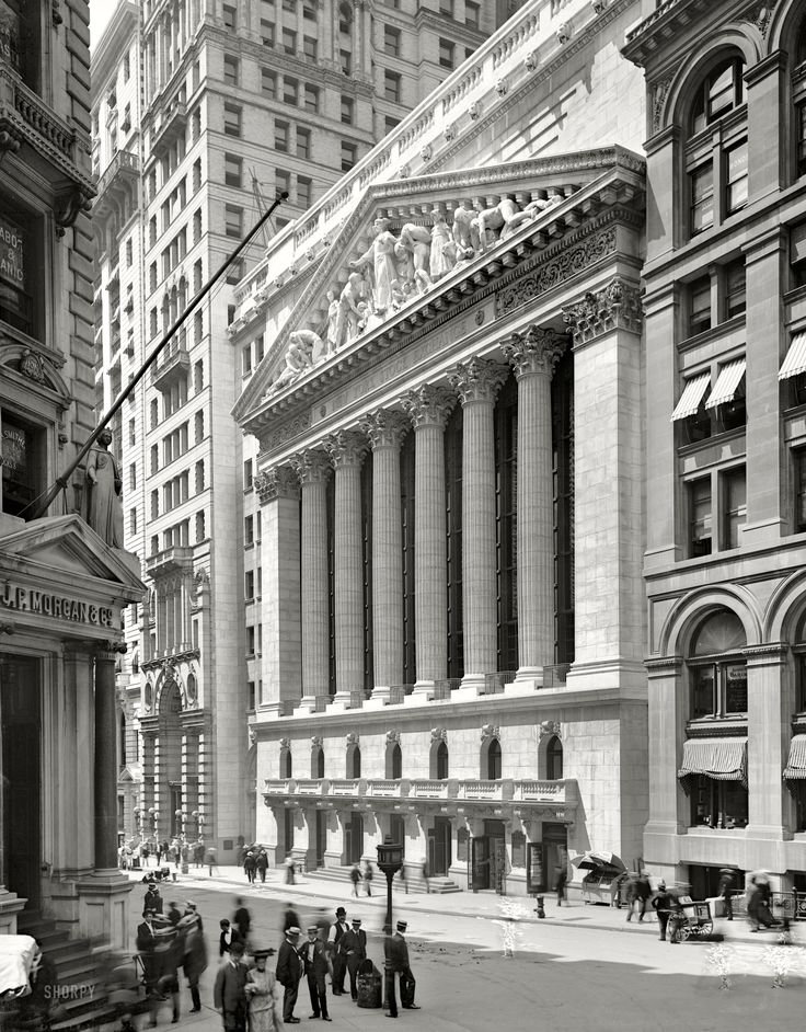 """Lower Manhattan circa 1904. """"New York Stock Exchange, Wall and Broad streets."""" Note the not very successful attempt to retouch three ghost pedestrians out of the picture. Detroit Publishing Company glass negative."""
