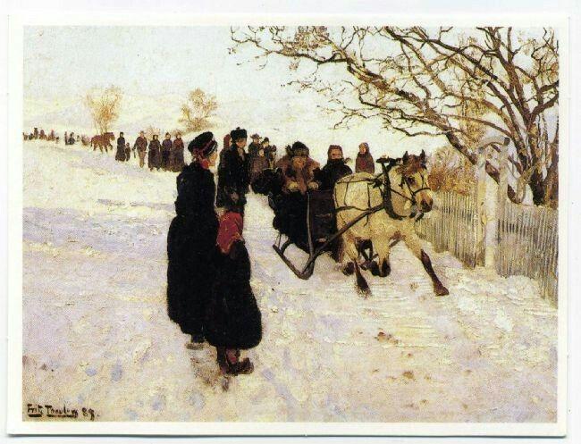 Beskrivelse  Julekort Kunstner: Fritz Thaulow maleri fra 1889 Utgitt av LHL 1986