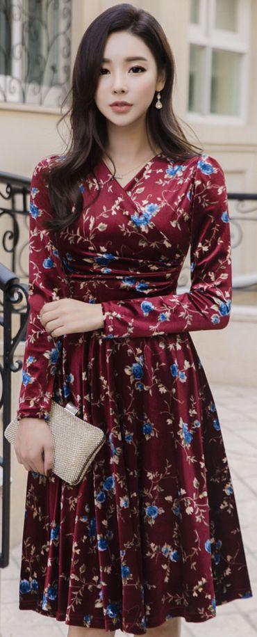 StyleOnme_Velour Floral Print Wrap Flared Dress #wine #red #floral #falltrend #koreanfashion #kstyle #kfashion #seoul #feminine #dress