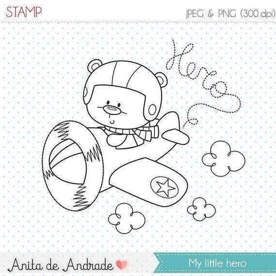 50% OFF Aiplane Pilot, baby hero stamp - commercial use - digital stamp, line art, digital clip art, graphics, digital images - S020