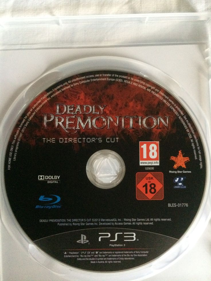 Deadly Premonition The Director's Cut game disc.