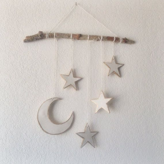 Crescent moon & stars mobile moon and stars by JuniperHillGoods