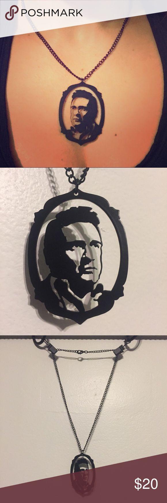 Johnny Cash black portrait necklace Super cool Johnny Cash necklace. Black. Worn a couple times. Great condition. Jewelry Necklaces