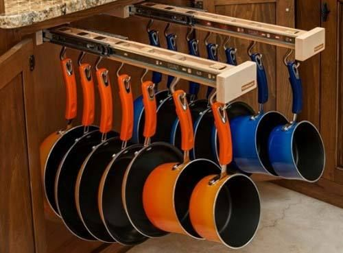 GLIDEWARE Pots and Pan Organization system.. saves wear and tear on your cookware and saves you time in the kitchen. Clumsy Gourmet approved! #Kickstarter Project from #Colorado