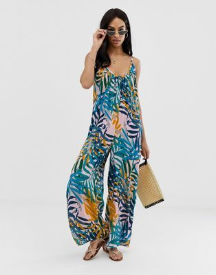 b1305008e7 Image 1 of ASOS DESIGN low back jumpsuit in crinkle in palm print