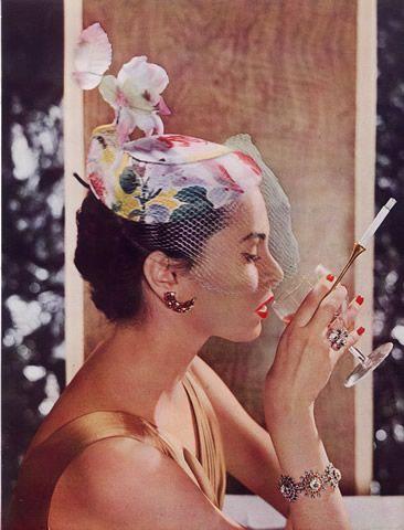 hollyhocksandtulips:  Albouy millinery, 1953