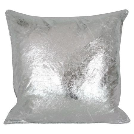 Metallic Throw Pillow In Crackled Silver White With A