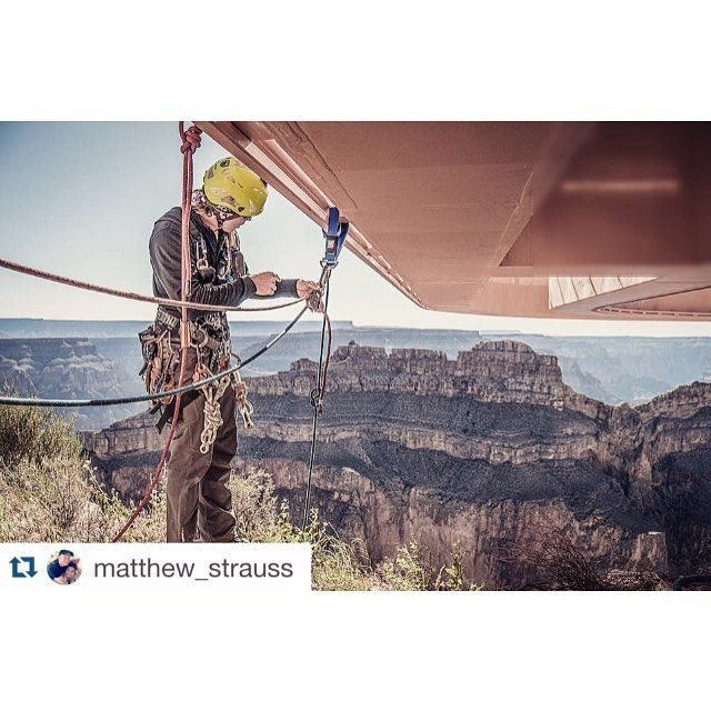 #Repost @matthew_strauss with @repostapp. @abseilonusa Rope Access Technician prepares to work below the Grand Canyon Skywalk in northern Arizona. The beginning of a two-day job in order to clean the underside of the Skywalk's glass floor. #nikon #portrait #naturallight #phoenix #phoenixphotographer #arizonaphotographer #arizona #grandcanyon #skywalk #onlocation #onassignment #chasinglight #photolife #commercialphotography #abseilonusa #workatheight #ropeaccess #sprat #cmcrescue #petzl…