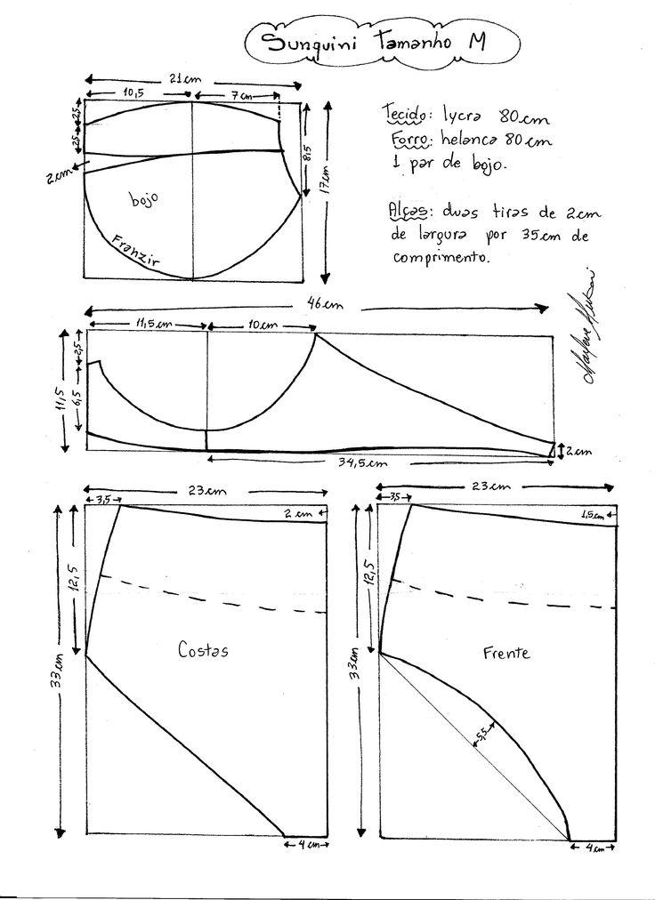 Esquema de modelagem de Biquini Retrô tipo Sunquini tamanho M.