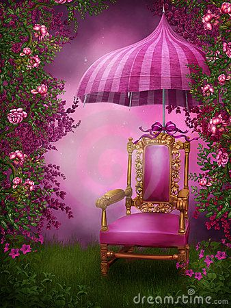 Pink Chair And Umbrella Studio Background Images