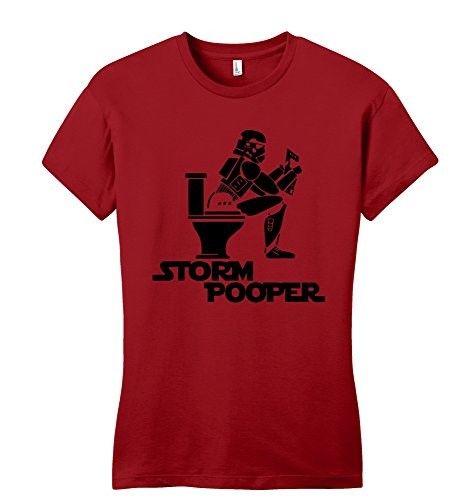 Comical Shirt Juniors Storm Pooper Funny Star Movie Parody Shirt Red XL, Women's
