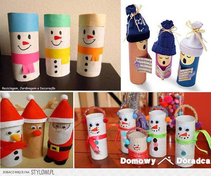 Zimowe dekoracje z rolek po papierze toaletowym na Stylowi.pl