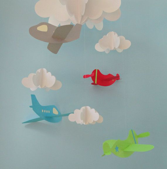 Airplane Baby Mobile, Plane Mobile, Hanging Baby Mobile, Nursery Mobile, 3D Paper Mobile