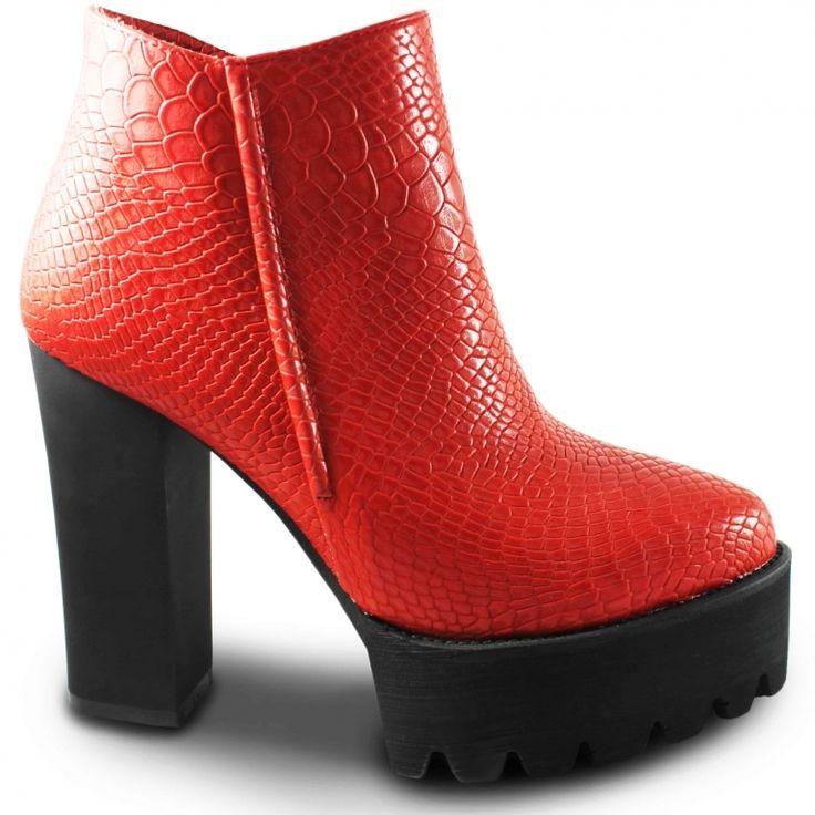 Ботинки красные на высоком каблуке / 39 | 24.5 см