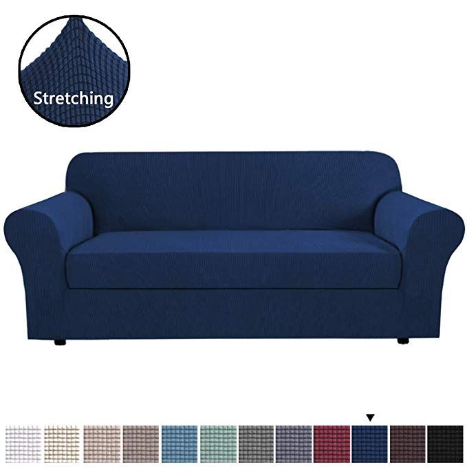 Amazon Com H Versailtex High Stretch Jacquard 2 Pieces Sofa Cover Couch Cover Furniture Sofa Slip Covers In 2020 Couch Covers Sofa Covers Blue Couch Covers