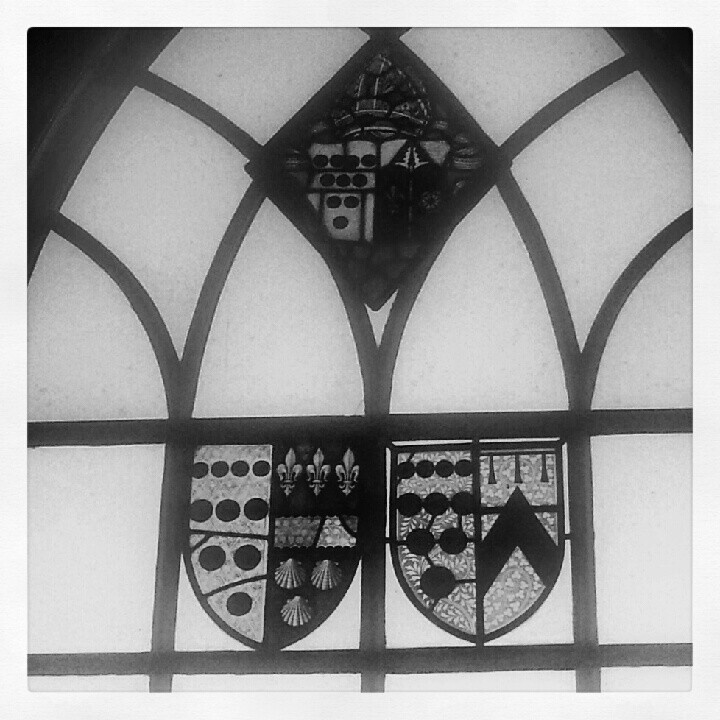 Stained glass. Medieval great hall.