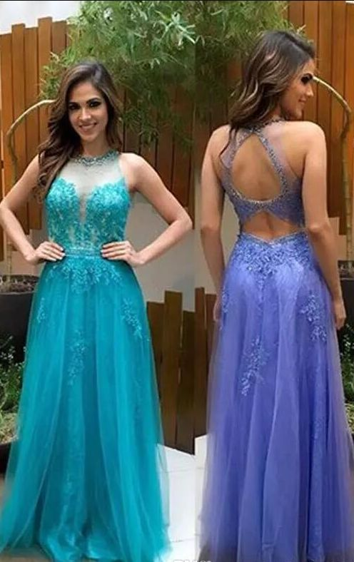 Tulle with Applique Long Illusion Prom Dresses Jewel Sleeveless Backless Floor Length A-line Evening Party Gowns Custom Made