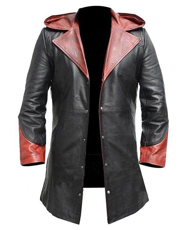 Men/'s Devil May Cry Coat Black Long Leather CoatLong Leather Coats Jackets