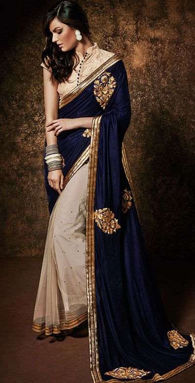 USD 59.75 Royal Blue Net Party Wear Saree 42967