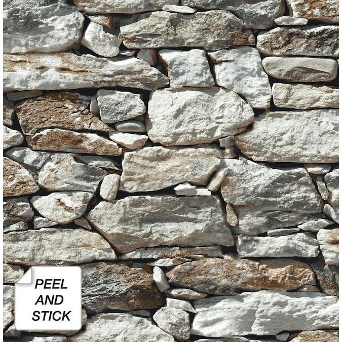 Nextwall 30 75 Sq Ft Brown And Grey Vinyl Stone Self Adhesive Peel And Stick Wallpaper Lowes Com Seabrook Designs Stone Wallpaper Stone Wall