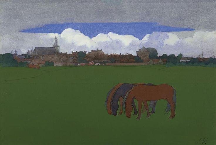 Jan Voerman sr. – Paarden in een weiland met Hattem op de achtergrond