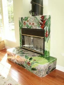 Lisa Vogt - Custom Art Glass Studio, Tropical Fireplace