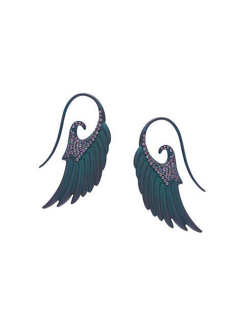 Shop Noor Fares angel wings earrings.