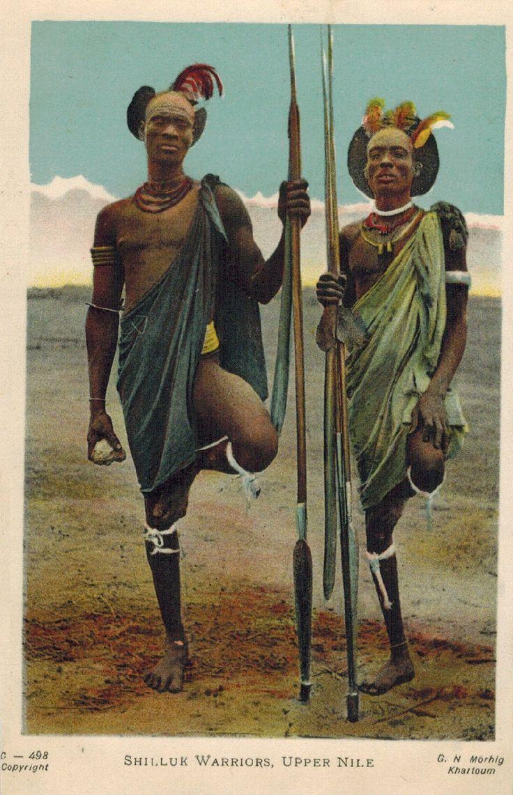 Shilluk Warriors, Upper Nile. Postcard, Anglo-Egyptian Sudan.