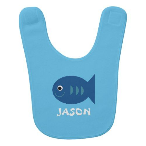 Custom Blue Smiling Fish Baby Bib