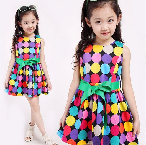 Sari Top Fashion Shopping Pakistan 2017 Hot Explosion Of Children's Clothing Color Wave Point Skirt Sleeveless Girls Sexy Dress