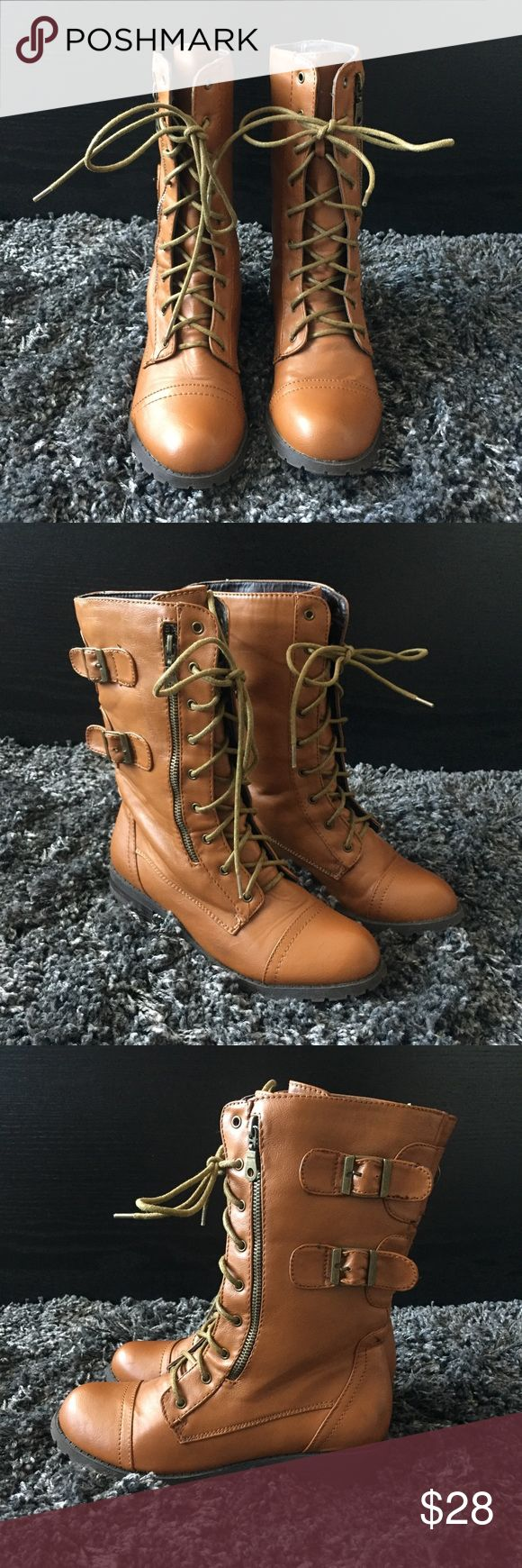 Cognac Brown Zipper Detail Combat Boots Cognac brown combat boots with zipper and buckle detail. BRAND NEW, NEVER WORN OUTSIDE OF STORE! Some slight crease in side of leather from being tried on as pictured. Pairs perfectly with leggings or your favorite pair of jeans! 🖤 Shoes Combat & Moto Boots