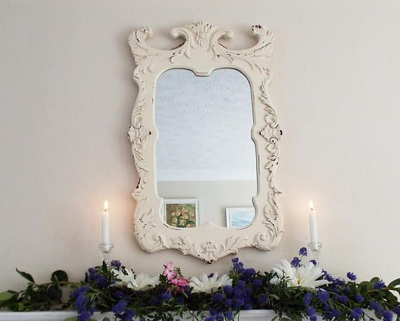 ♮ø Distressed Mirror Vintage Mirror Hand Painted Mirror Framed mirror  French shabby chic Mirror Rustic Mirror M216 by AndiJLucas Check It Out #shabbychic #rusticchic #vintagechic http://etsy.me/2hspIfe