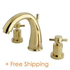 """Two Handle 8"""" to 16"""" Widespread Lavatory Faucet with Brass Pop-up Polished Brass KS2962DX"""