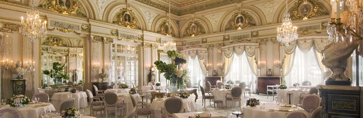 Louis XV in Monte Carlo, Monaco. One of the most magnificent dining rooms in the world. The food, service, atmosphere is perfect!! Every detail is taken care of so that you have an AMAZING dining experience.