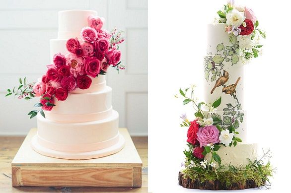 Bohemian wedding cakes in rich tones Loft Photographie left, Sweet Love Cake Couture right
