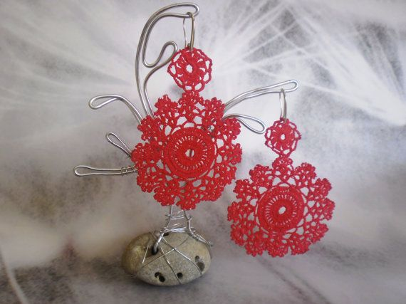 Authentic vintage lace earrings Red collor with by BLOWBALLgr, $24.50