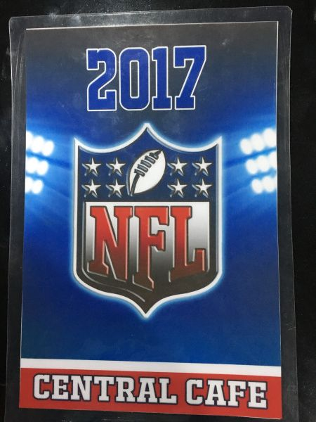 Central Café is STREAMING LIVE THE NFL SEASON this Thursday September 7th, FREE OF CHARGE TO ALL GUESTS BUYING FOOD. (2017 IS THE FIRST BIG GAME AS SEEN HERE: http://www.nfl.com/schedules/2017/REG1)