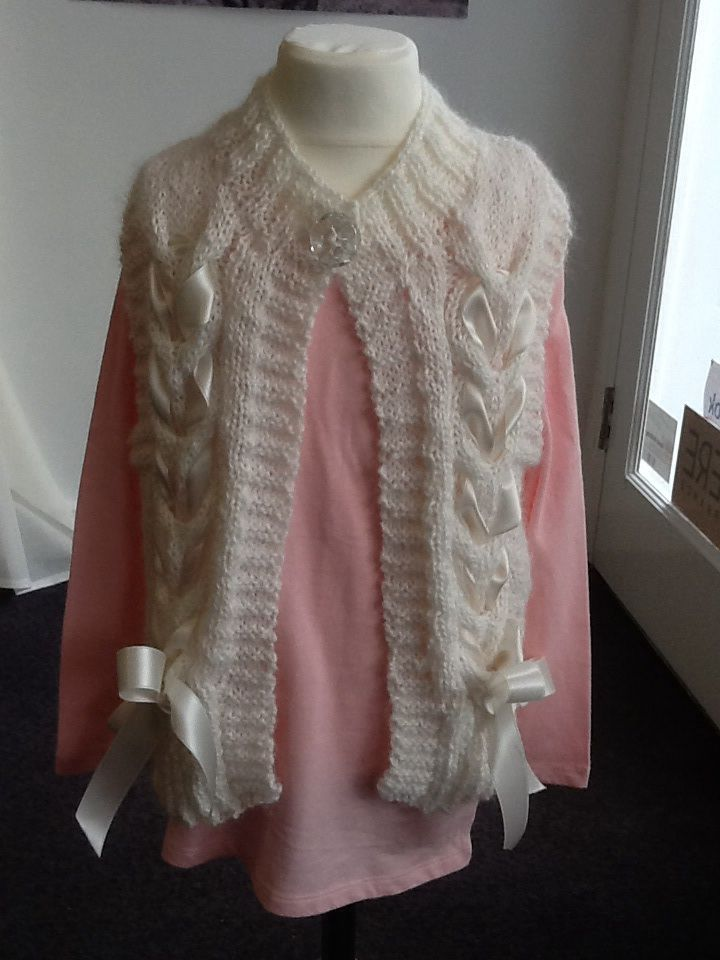 Lovely girls waist coat in bergere de France eclair, you can't see it on the pic but the yarn sparkles.