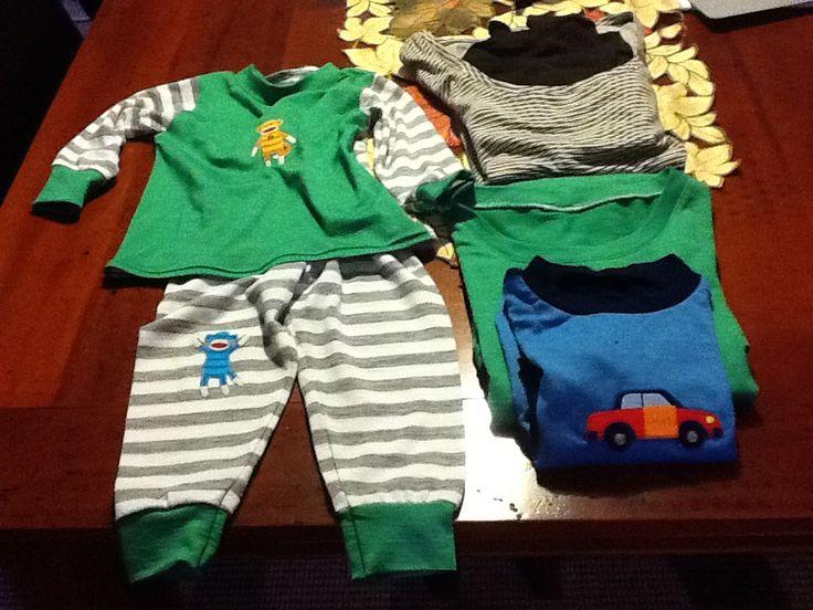 Merino Pyjamas for the grandchildren.  Fabric from Levano in Levin. Pattern Kwik Sew 3510