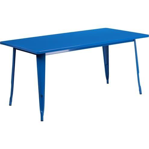 iHome Kendrick Rectangular 31.5'' x 63'' Blue Metal Table for Indoor/Outdoor/Patio/Bar/Restaurant, Patio Furniture
