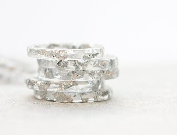 Resin Stacking Ring Silver Flakes Icicle Thin Small Ring OOAK white minimalist jewelry rusteam