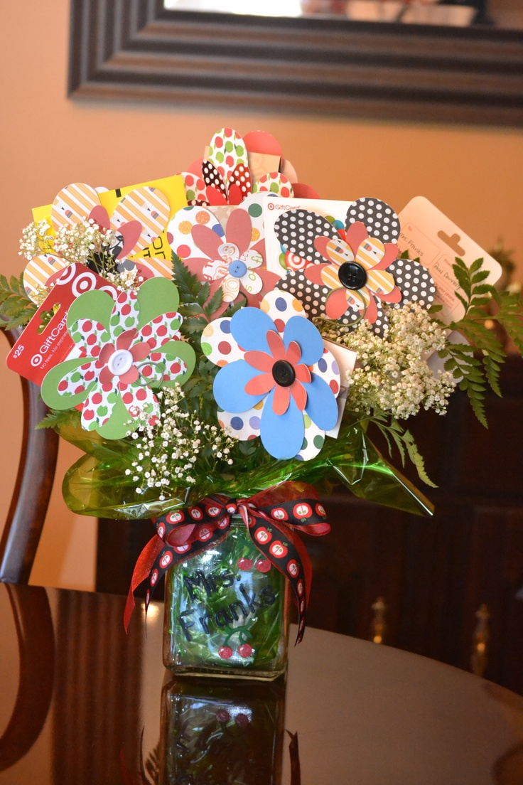 paper flower gift card bouquet for teacher appreciation or