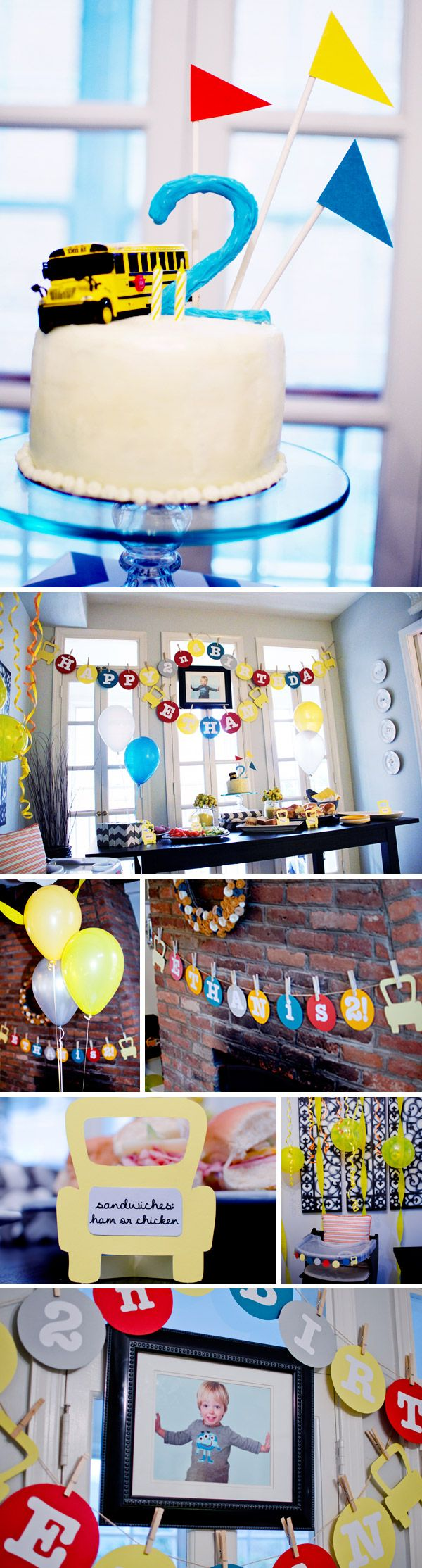 School Bus Birthday Cake & Decorations...happy birthday banner in three parts; name below