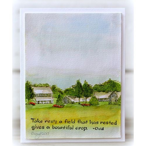 Serendipity Stamps Winter Homestead stamp.  Use watercolor to change a winter stamp design into a summer one.   Add the Take Rest quote by Ovid and send it off to a friend.