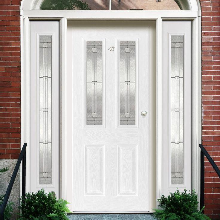 GRP White Malton Glazed Composite Door with Two Sidelights. #externaldoor #frontdoor #entrance