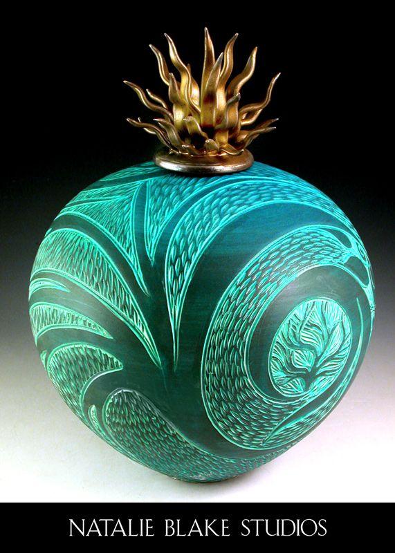 Sgraffito carved handmade porcelain vessel with signature porcelain urchin lid glazed in bronze by Natalie Blake Studios