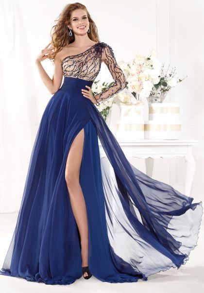 2014 Tarik Ediz Flowy A Line Prom Dress 92389