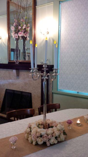 #candelabra #vintage #hessianrunner #tealights